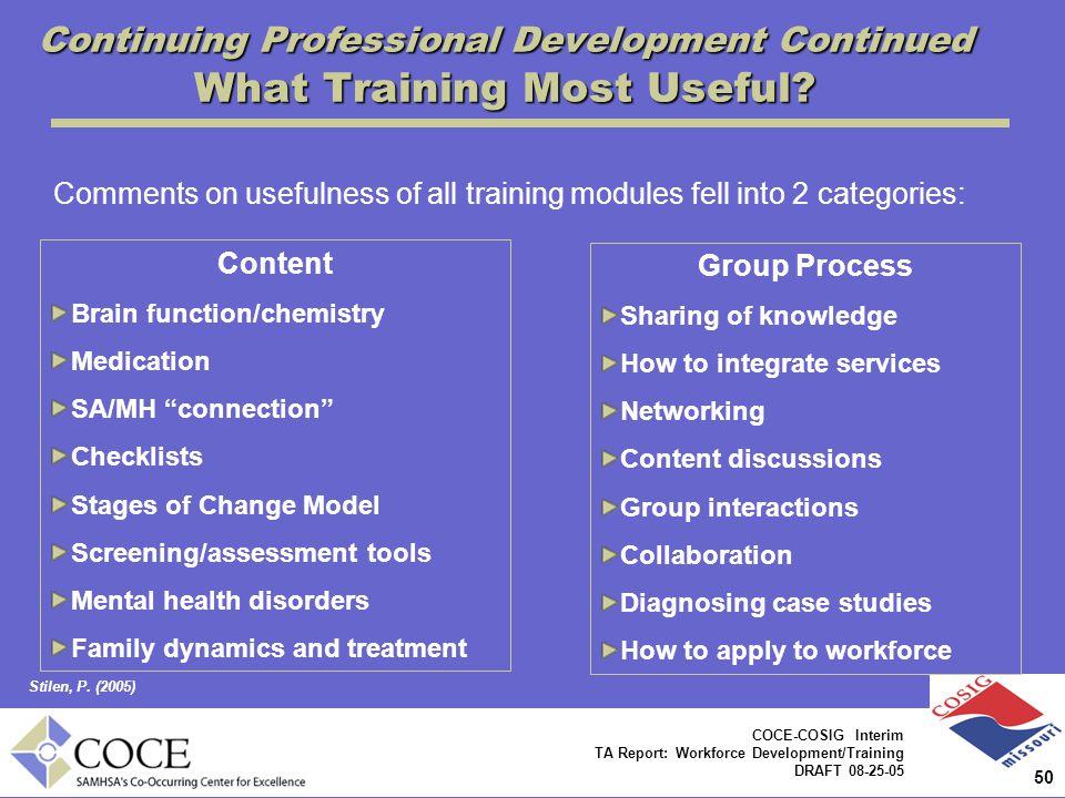 50 COCE-COSIG Interim TA Report: Workforce Development/Training DRAFT 08-25-05 Continuing Professional Development Continued What Training Most Useful.