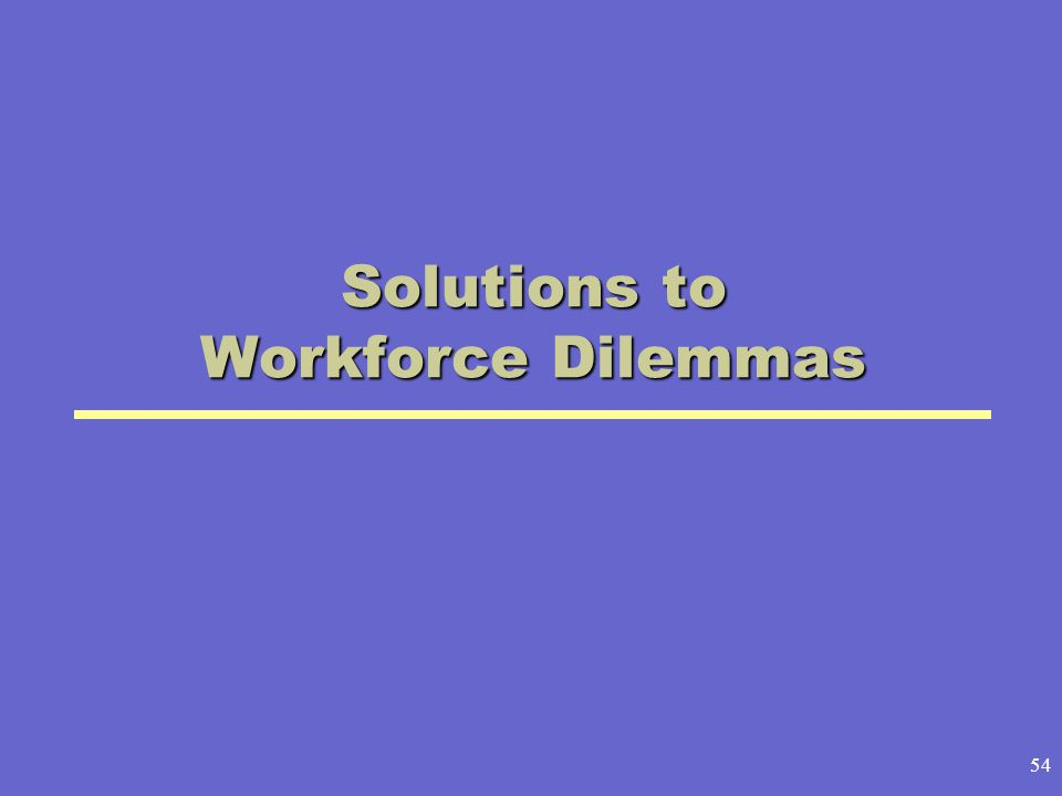 54 Solutions to Workforce Dilemmas