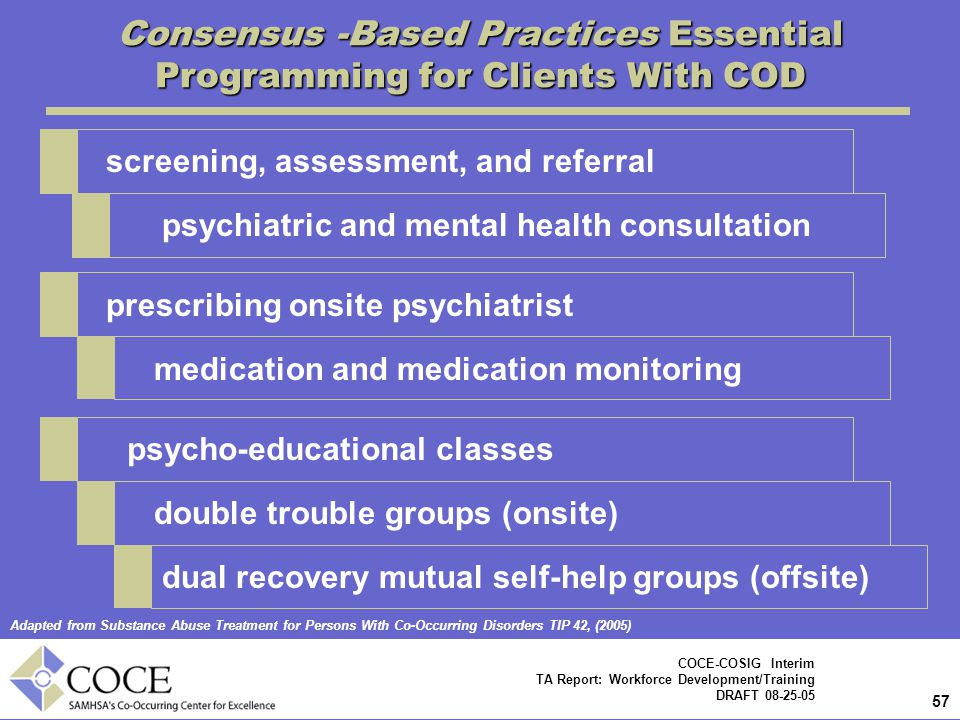 57 COCE-COSIG Interim TA Report: Workforce Development/Training DRAFT 08-25-05 Consensus -Based Practices Essential Programming for Clients With COD screening, assessment, and referral psychiatric and mental health consultation prescribing onsite psychiatrist medication and medication monitoring psycho-educational classes double trouble groups (onsite) dual recovery mutual self-help groups (offsite) Adapted from Substance Abuse Treatment for Persons With Co-Occurring Disorders TIP 42, (2005)