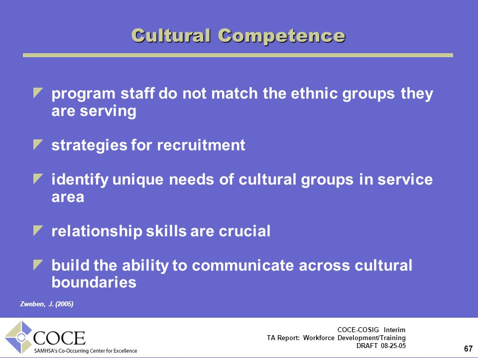 67 COCE-COSIG Interim TA Report: Workforce Development/Training DRAFT 08-25-05 program staff do not match the ethnic groups they are serving strategies for recruitment identify unique needs of cultural groups in service area relationship skills are crucial build the ability to communicate across cultural boundaries Cultural Competence Zweben, J.