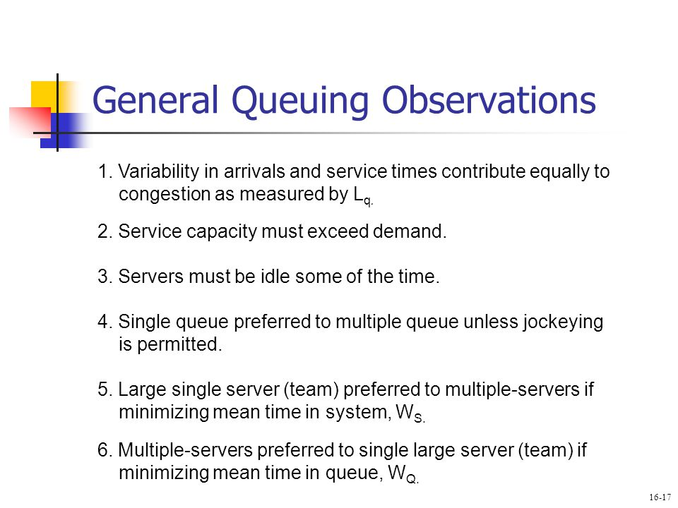General Queuing Observations 1. Variability in arrivals and service times contribute equally to congestion as measured by L q. 2. Service capacity mus