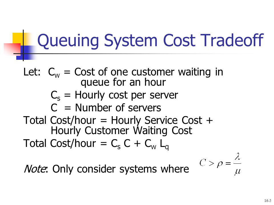 Queuing System Cost Tradeoff Let: C w = Cost of one customer waiting in queue for an hour C s = Hourly cost per server C = Number of servers Total Cos