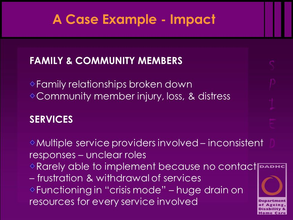 SPIEDSPIED A Case Example - Impact FAMILY & COMMUNITY MEMBERS Family relationships broken down Community member injury, loss, & distress SERVICES Mult