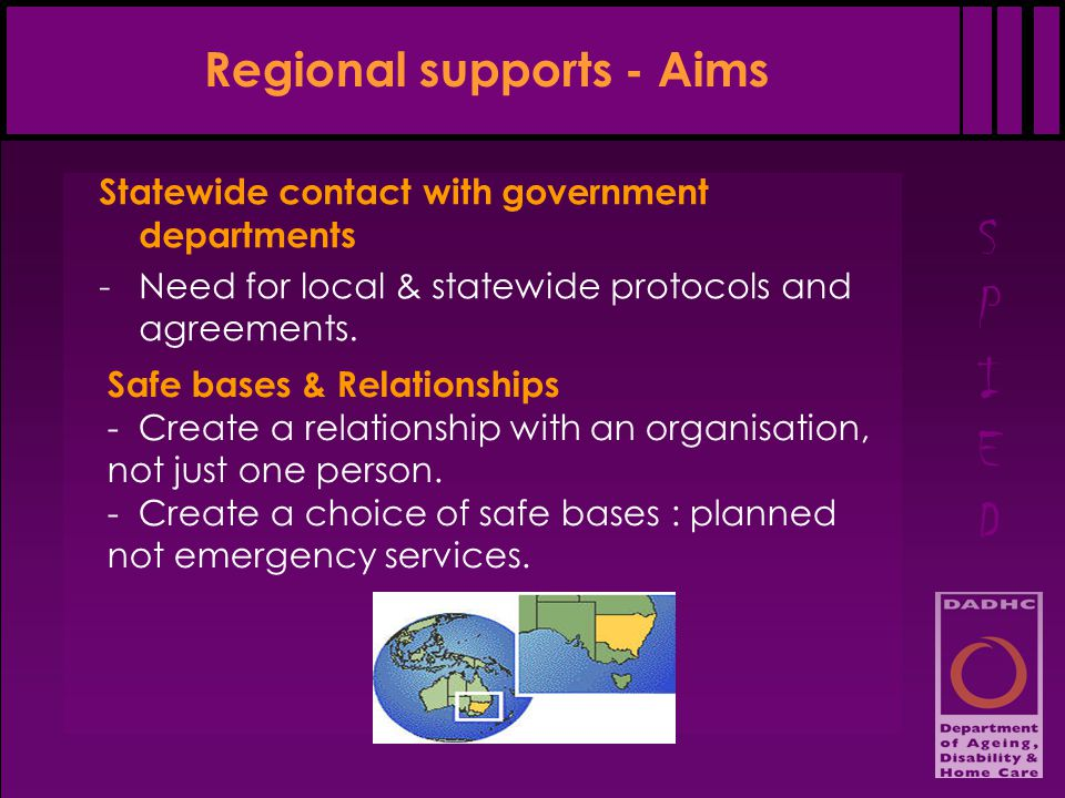 SPIEDSPIED Regional supports - Aims Statewide contact with government departments -Need for local & statewide protocols and agreements.