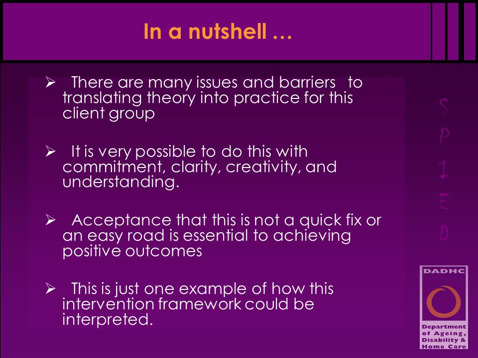 SPIEDSPIED In a nutshell …  There are many issues and barriers to translating theory into practice for this client group  It is very possible to do