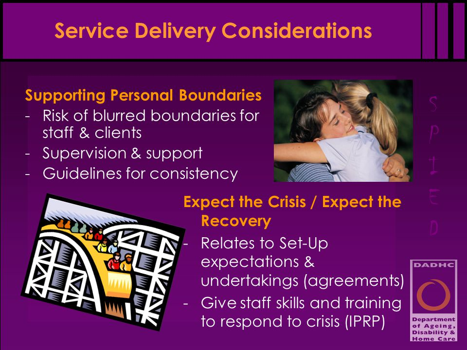 SPIEDSPIED Service Delivery Considerations Supporting Personal Boundaries -Risk of blurred boundaries for staff & clients -Supervision & support -Guidelines for consistency Expect the Crisis / Expect the Recovery -Relates to Set-Up expectations & undertakings (agreements) -Give staff skills and training to respond to crisis (IPRP)