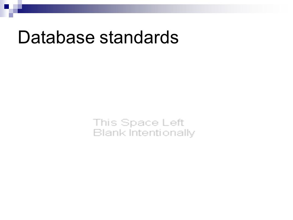 Database standards
