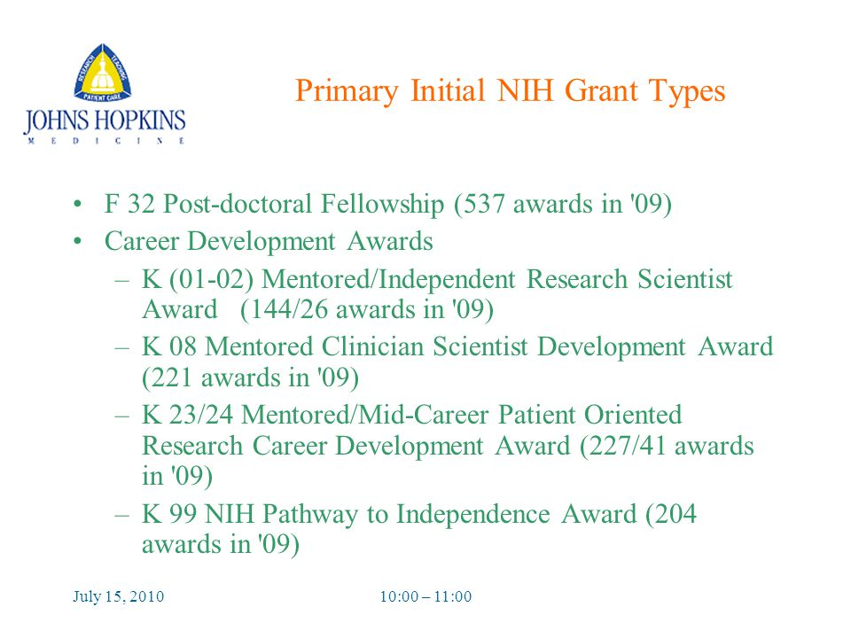 July 15, 201010:00 – 11:00 Primary Initial NIH Grant Types F 32 Post-doctoral Fellowship (537 awards in 09) Career Development Awards –K (01-02) Mentored/Independent Research Scientist Award (144/26 awards in 09) –K 08 Mentored Clinician Scientist Development Award (221 awards in 09) –K 23/24 Mentored/Mid-Career Patient Oriented Research Career Development Award (227/41 awards in 09) –K 99 NIH Pathway to Independence Award (204 awards in 09)