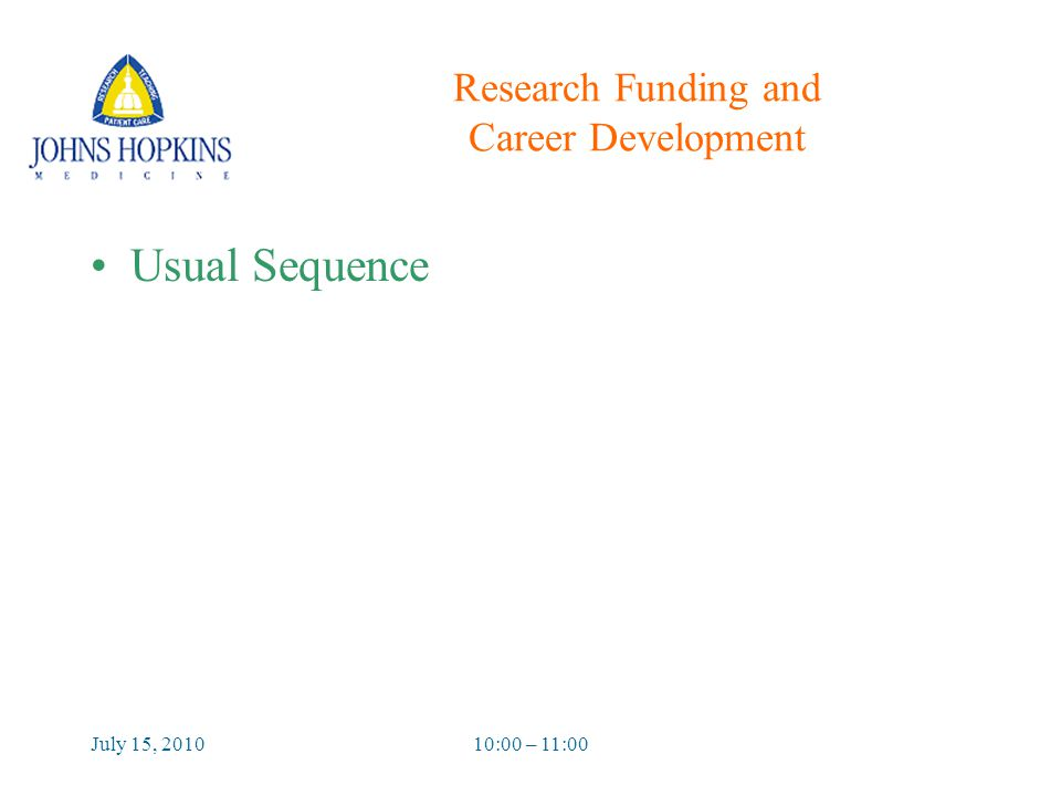 July 15, 201010:00 – 11:00 Research Funding and Career Development Usual Sequence