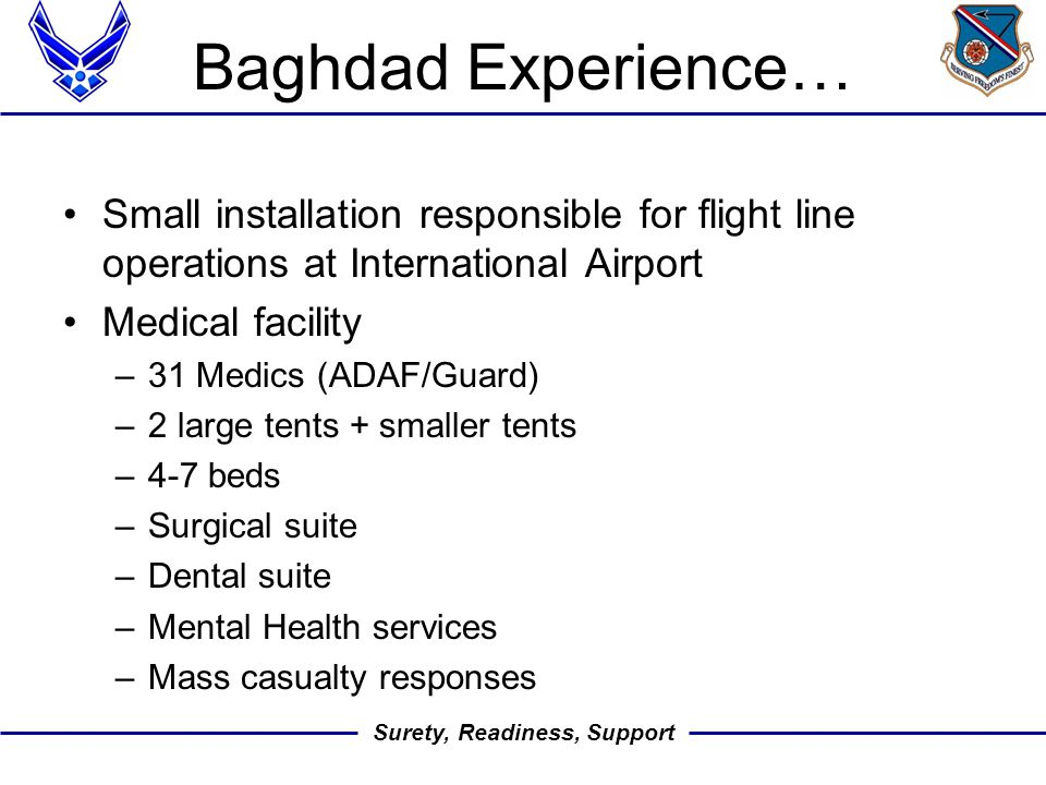 Surety, Readiness, Support Baghdad Experience… Small installation responsible for flight line operations at International Airport Medical facility –31 Medics (ADAF/Guard) –2 large tents + smaller tents –4-7 beds –Surgical suite –Dental suite –Mental Health services –Mass casualty responses