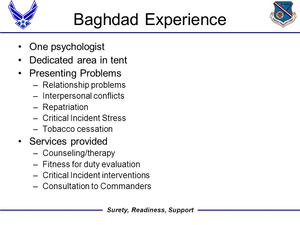 Surety, Readiness, Support Baghdad Experience One psychologist Dedicated area in tent Presenting Problems –Relationship problems –Interpersonal conflicts –Repatriation –Critical Incident Stress –Tobacco cessation Services provided –Counseling/therapy –Fitness for duty evaluation –Critical Incident interventions –Consultation to Commanders