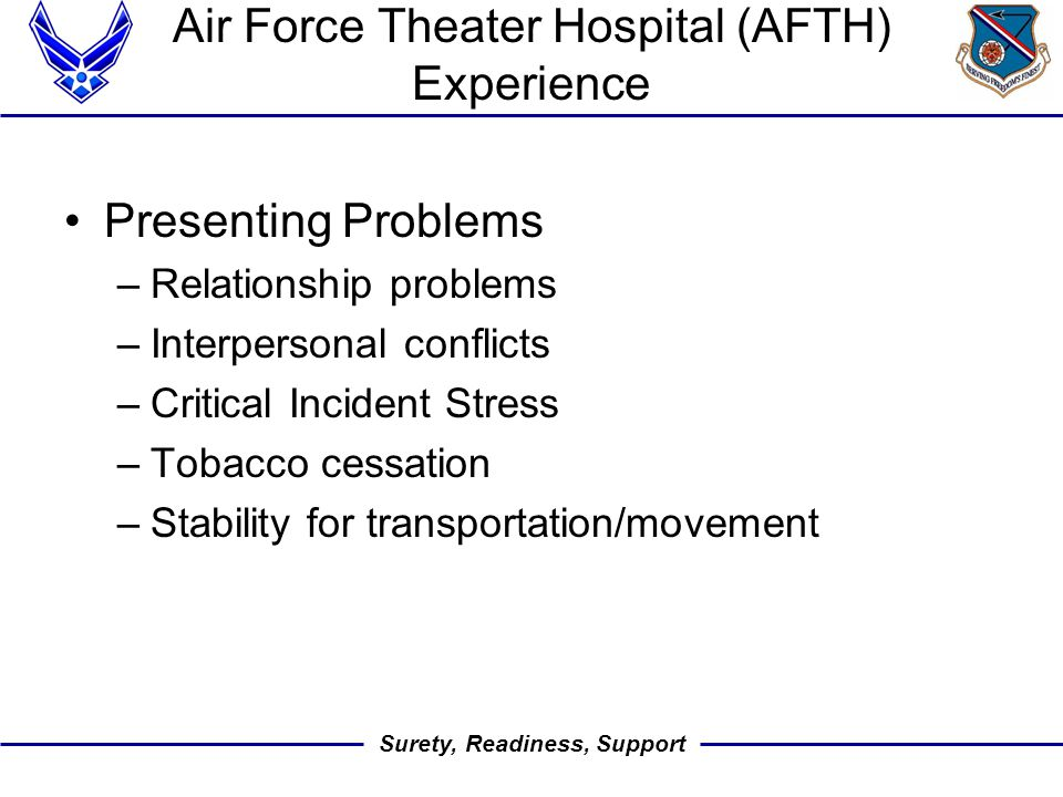 Surety, Readiness, Support Air Force Theater Hospital (AFTH) Experience Presenting Problems –Relationship problems –Interpersonal conflicts –Critical Incident Stress –Tobacco cessation –Stability for transportation/movement