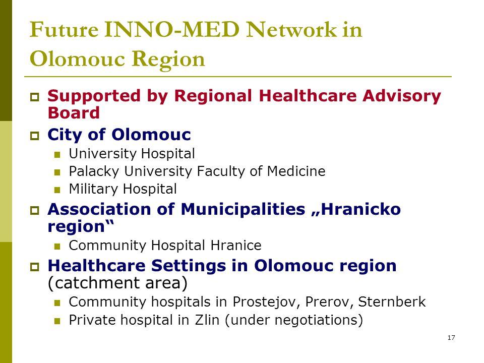 17 Future INNO-MED Network in Olomouc Region  Supported by Regional Healthcare Advisory Board  City of Olomouc University Hospital Palacky Universit