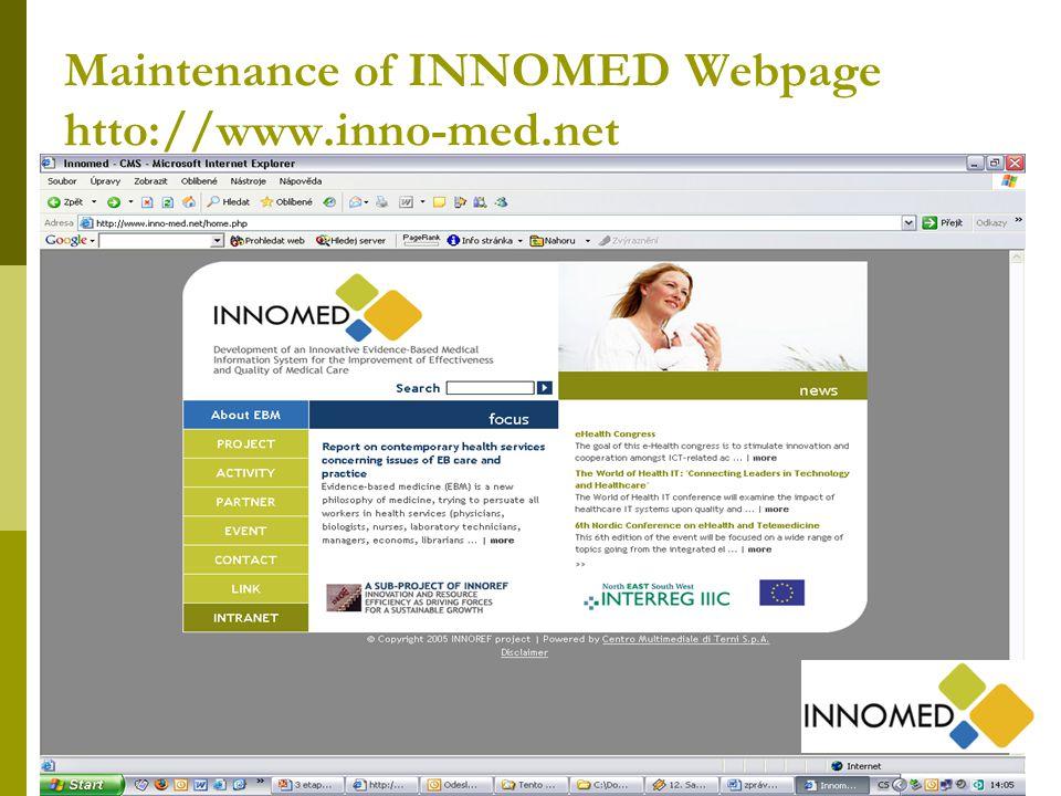 19 Maintenance of INNOMED Webpage htto://www.inno-med.net