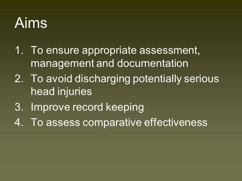 Background Head injury - 5-7% of attendances Majority of head injuries are minor NICE Head Injury guidelines 2003 –CT use increase –Decreased use of Skull x-rays