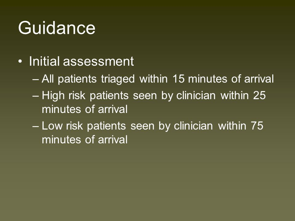 Guidance NICE Guidelines 2003 for Head injury –Based upon Canadian CT head rules –Increased use of CT scanning –Dependant on adequate triage into three groups of patients High risk Medium risk Low risk