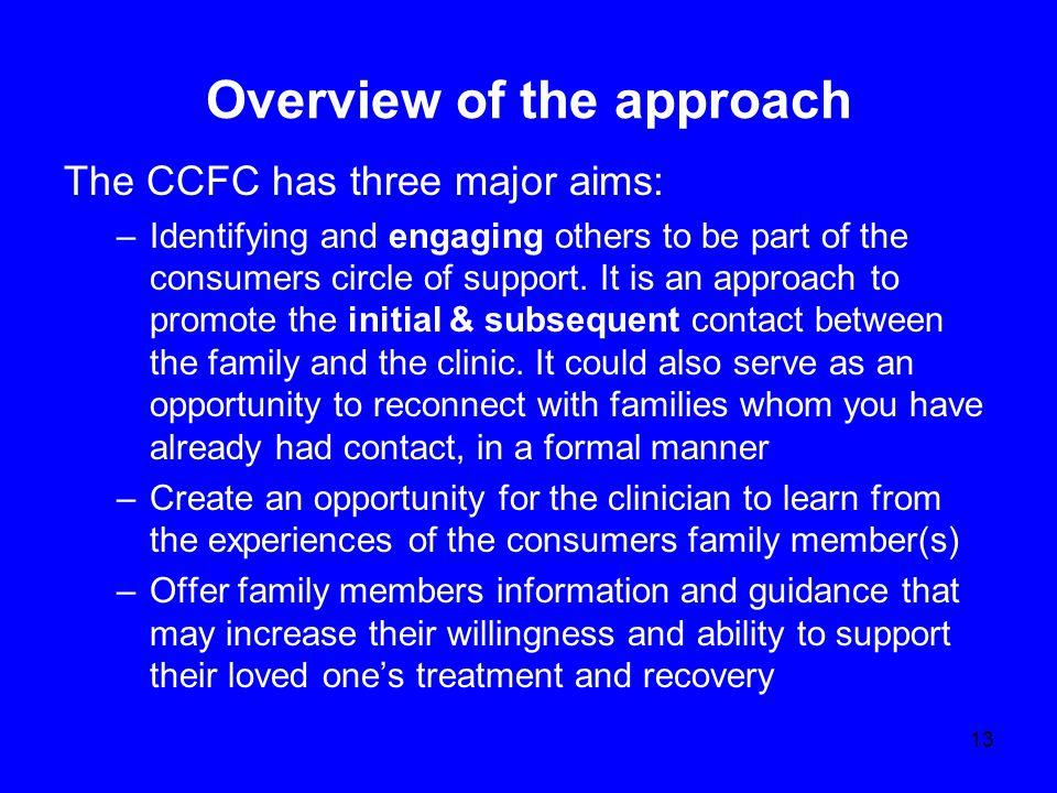 Overview of the approach The CCFC has three major aims: –Identifying and engaging others to be part of the consumers circle of support.
