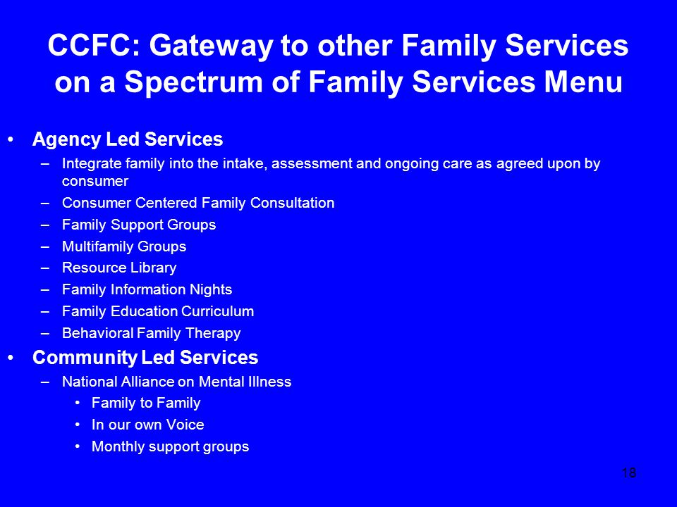 CCFC: Gateway to other Family Services on a Spectrum of Family Services Menu Agency Led Services –Integrate family into the intake, assessment and ongoing care as agreed upon by consumer –Consumer Centered Family Consultation –Family Support Groups –Multifamily Groups –Resource Library –Family Information Nights –Family Education Curriculum –Behavioral Family Therapy Community Led Services –National Alliance on Mental Illness Family to Family In our own Voice Monthly support groups 18