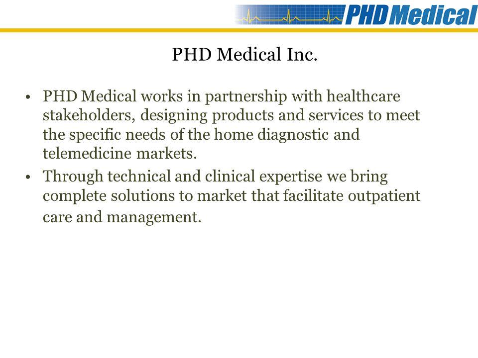 PHD Products & Services Expert System Platform Televisit tm Platform