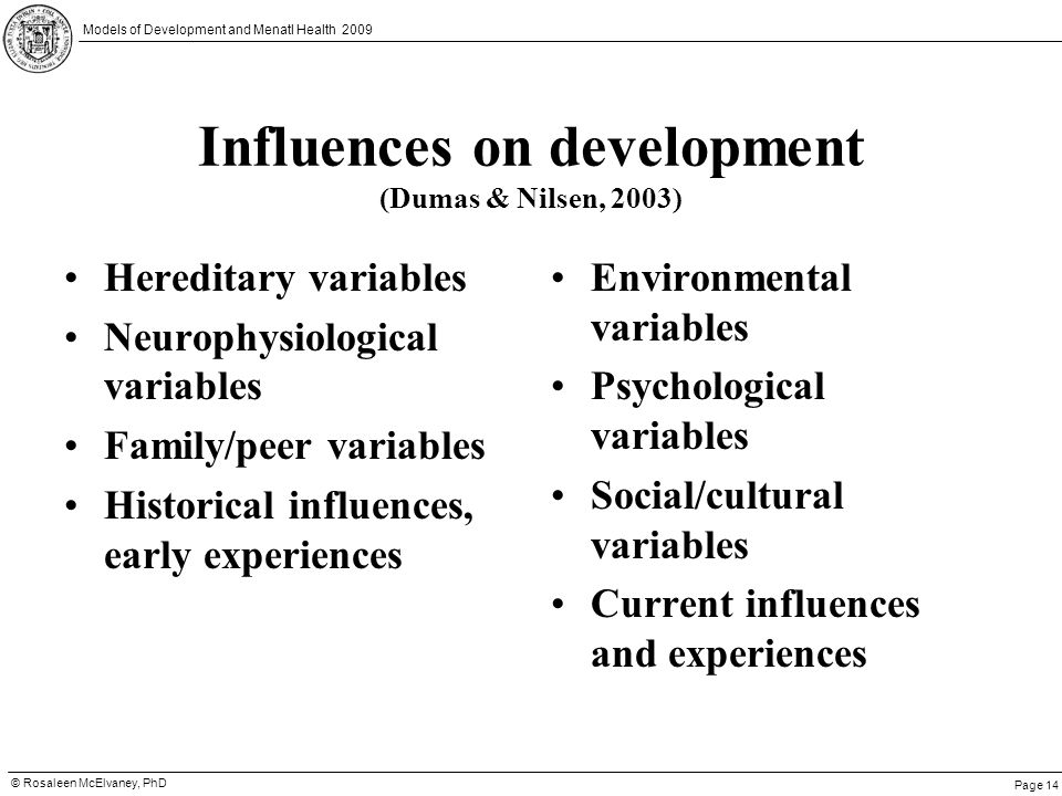 Page 14 © Rosaleen McElvaney, PhD Models of Development and Menatl Health 2009 Influences on development (Dumas & Nilsen, 2003) Hereditary variables N