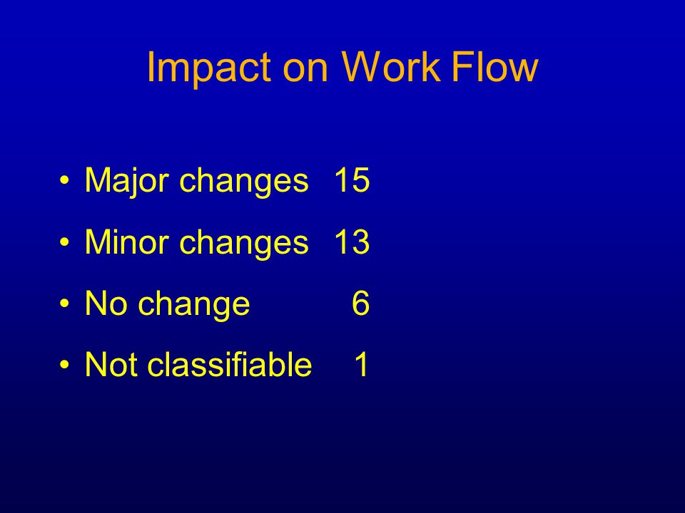 Impact on Work Flow Major Change to Work Flow: 'The scheduling is really tricky … two rooms need to be scheduled, and the equipment … where you've got to have somebody locally with the patient … it's two clinicians.
