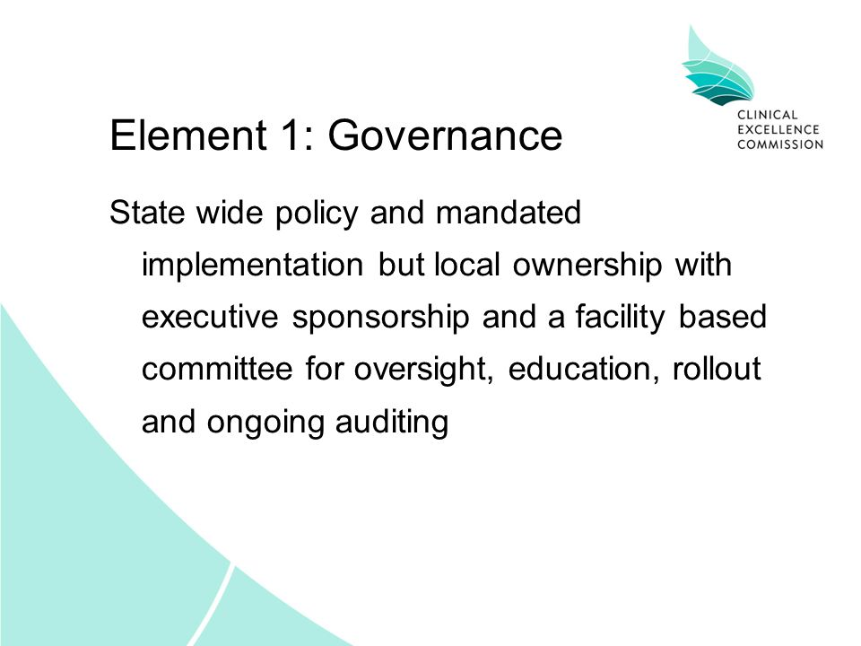 Element 1: Governance State wide policy and mandated implementation but local ownership with executive sponsorship and a facility based committee for oversight, education, rollout and ongoing auditing