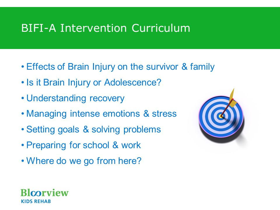 BIFI-A Intervention Curriculum Effects of Brain Injury on the survivor & family Is it Brain Injury or Adolescence? Understanding recovery Managing int