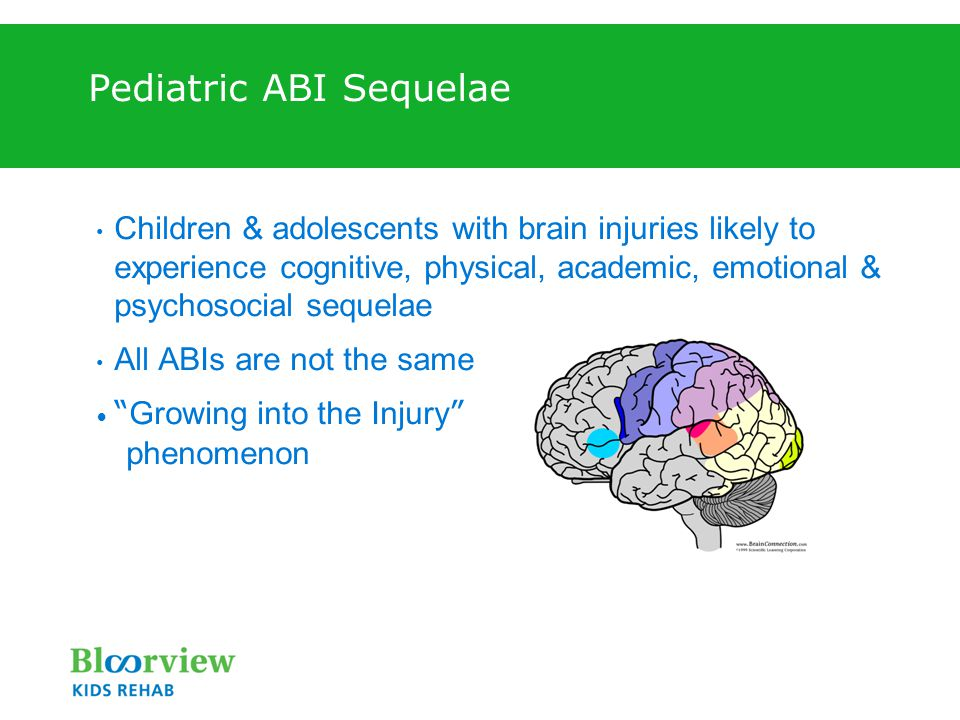Pediatric ABI Sequelae Children & adolescents with brain injuries likely to experience cognitive, physical, academic, emotional & psychosocial sequelae All ABIs are not the same Growing into the Injury phenomenon