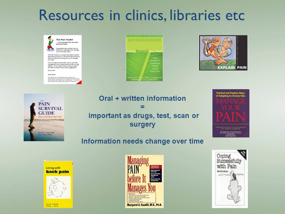 Resources in clinics, libraries etc Oral + written information = important as drugs, test, scan or surgery Information needs change over time