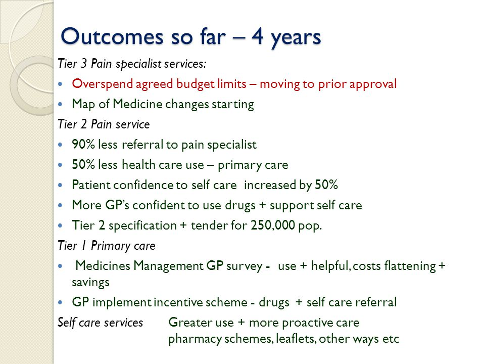 Outcomes so far – 4 years Tier 3 Pain specialist services: Overspend agreed budget limits – moving to prior approval Map of Medicine changes starting Tier 2 Pain service 90% less referral to pain specialist 50% less health care use – primary care Patient confidence to self care increased by 50% More GP's confident to use drugs + support self care Tier 2 specification + tender for 250,000 pop.