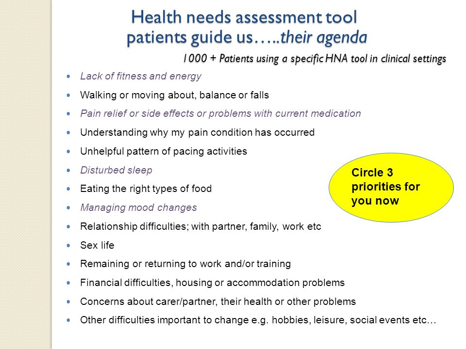 Health needs assessment tool patients guide us…..their agenda 1000 + Patients using a specific HNA tool in clinical settings Lack of fitness and energ
