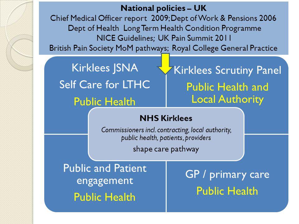 Kirklees JSNA Self Care for LTHC Public Health Kirklees Scrutiny Panel Public Health and Local Authority Public and Patient engagement Public Health GP / primary care Public Health NHS Kirklees Commissioners incl.