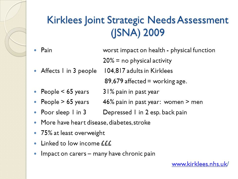 Kirklees Joint Strategic Needs Assessment (JSNA) 2009 Pain worst impact on health - physical function 20% = no physical activity Affects 1 in 3 people