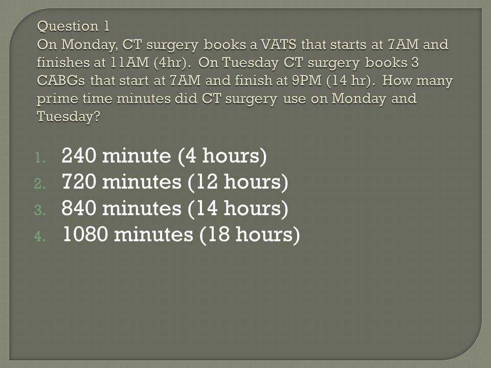 Question 1 On Monday, CT surgery books a VATS that starts at 7AM and finishes at 11AM (4hr). On Tuesday CT surgery books 3 CABGs that start at 7AM and