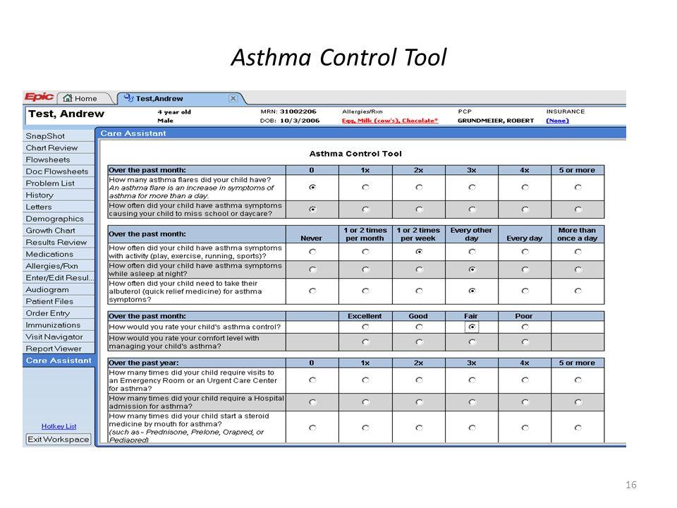 16 Asthma Control Tool