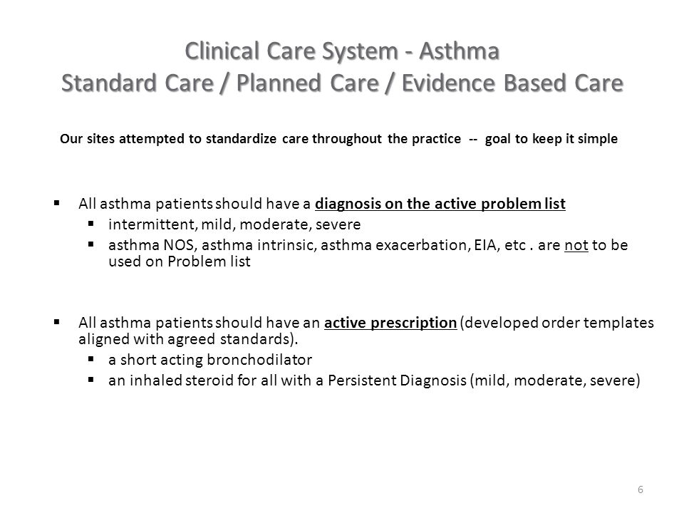  All asthma patients should have a diagnosis on the active problem list  intermittent, mild, moderate, severe  asthma NOS, asthma intrinsic, asthma exacerbation, EIA, etc.