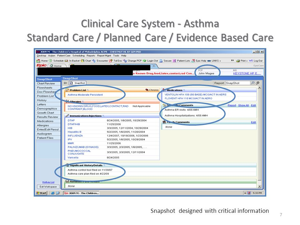 7 Clinical Care System - Asthma Standard Care / Planned Care / Evidence Based Care Snapshot designed with critical information
