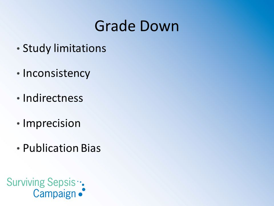 Grade Down Study limitations Inconsistency Indirectness Imprecision Publication Bias