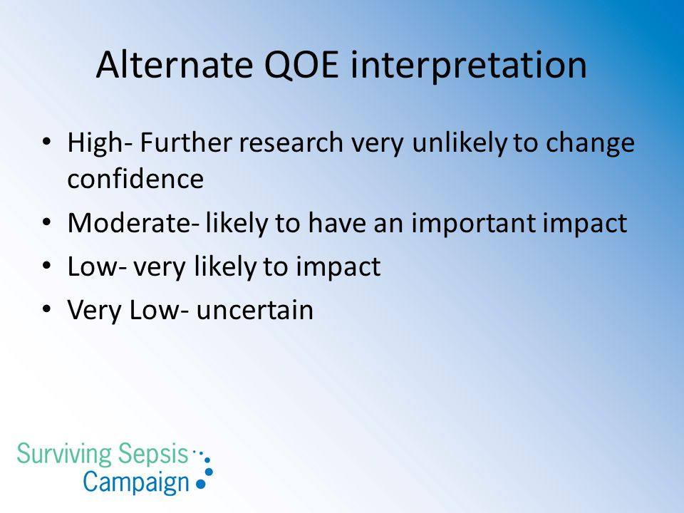 Alternate QOE interpretation High- Further research very unlikely to change confidence Moderate- likely to have an important impact Low- very likely t