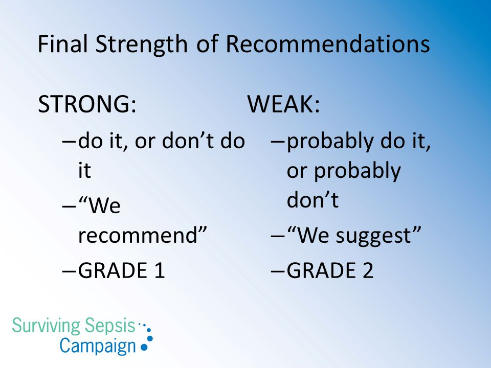 """Final Strength of Recommendations STRONG: – do it, or don't do it – """"We recommend"""" – GRADE 1 WEAK: – probably do it, or probably don't – """"We suggest"""""""