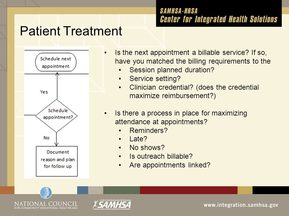 Patient Treatment, Is the next appointment a billable service.