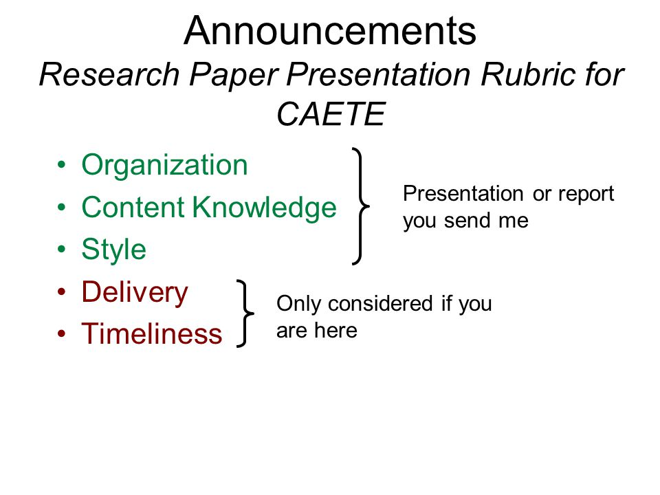 Announcements Research Paper Presentation Rubric for CAETE Organization Content Knowledge Style Delivery Timeliness Presentation or report you send me Only considered if you are here