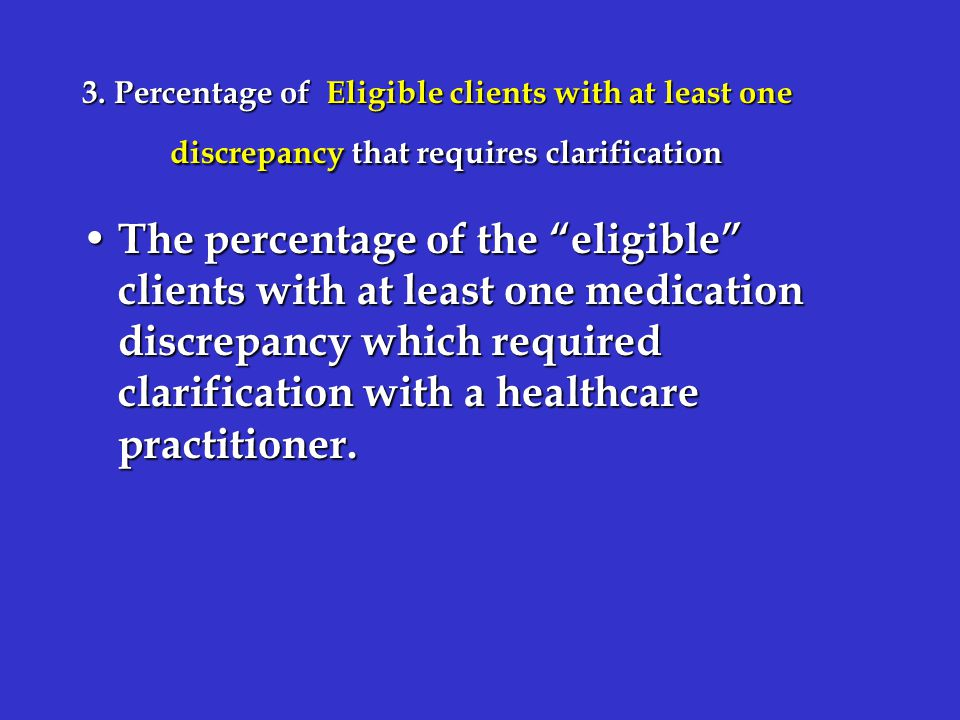 """3. Percentage of Eligible clients with at least one discrepancy that requires clarification The percentage of the """"eligible"""" clients with at least one"""
