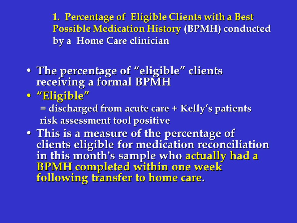 """1. Percentage of Eligible Clients with a Best Possible Medication History (BPMH) conducted by a Home Care clinician The percentage of """"eligible"""" clien"""