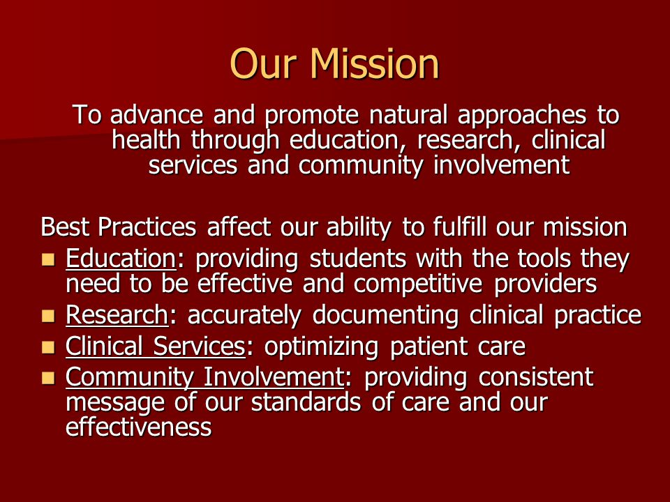 Educational Impact Evidence based curriculum translates to clinical experience Evidence based curriculum translates to clinical experience Expose students in controlled environment to: Expose students in controlled environment to: –Electronic patient records –Standardized data collection –Pragmatic use of research literature Develop habits for evidence based practice Develop habits for evidence based practice