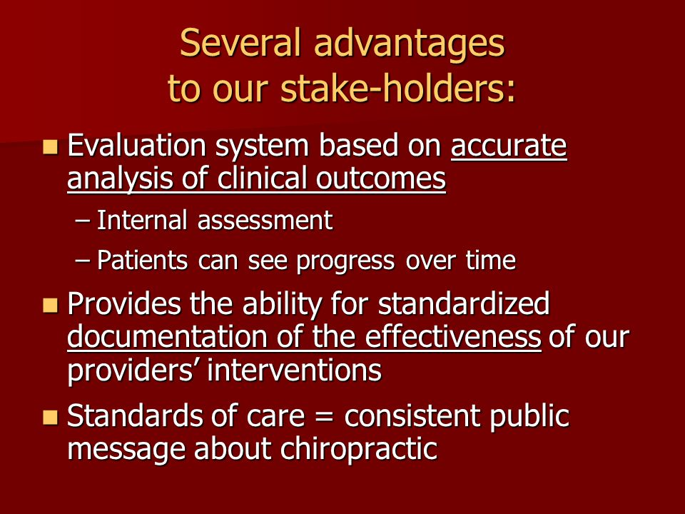 Best Practices Pilot Project Specific Aims: To optimize the quality of diagnosis and therapeutic management of patients through: application of evidence-based health care application of evidence-based health care within the context of a quality assurance system within the context of a quality assurance system …in the NWHSU clinic system