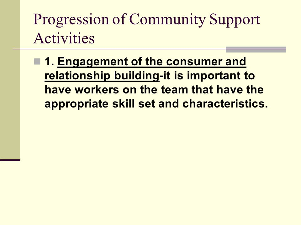 Progression of Community Support Activities 1.