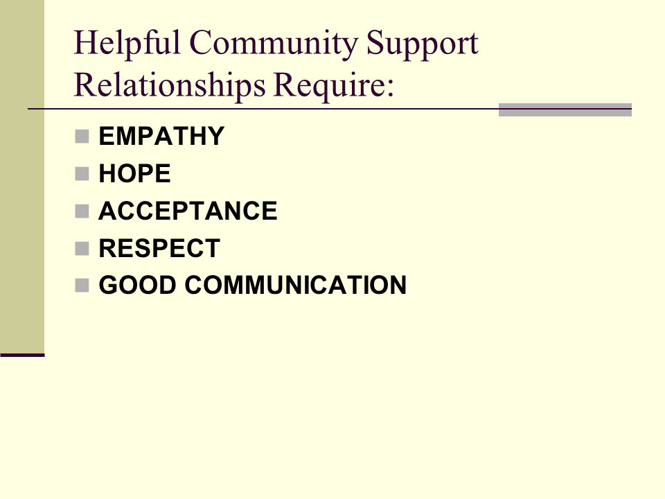 Helpful Community Support Relationships Require: EMPATHY HOPE ACCEPTANCE RESPECT GOOD COMMUNICATION