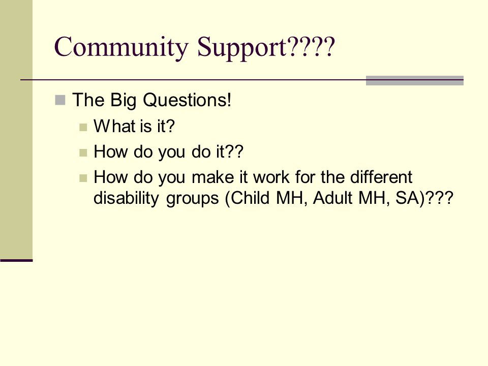 Community Support???? The Big Questions! What is it? How do you do it?? How do you make it work for the different disability groups (Child MH, Adult M