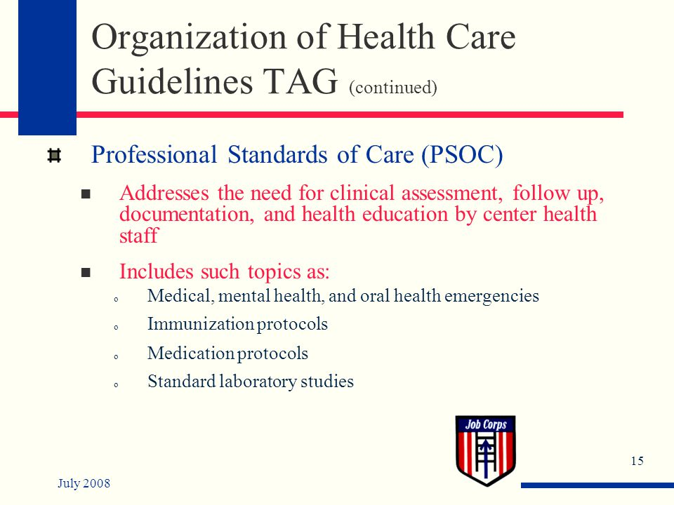 July 2008 15 Organization of Health Care Guidelines TAG (continued) Professional Standards of Care (PSOC) Addresses the need for clinical assessment, follow up, documentation, and health education by center health staff Includes such topics as: o Medical, mental health, and oral health emergencies o Immunization protocols o Medication protocols o Standard laboratory studies